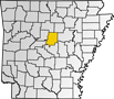 Map showing Faulkner County location within the state of Arkansas